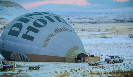 Hot Air Balloons of Royal Balloon are getting prepared and inflated at the take-off area before the flight